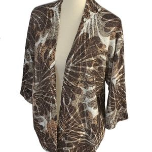 Chico's Brown Metallic Floral Cardigan Sweater